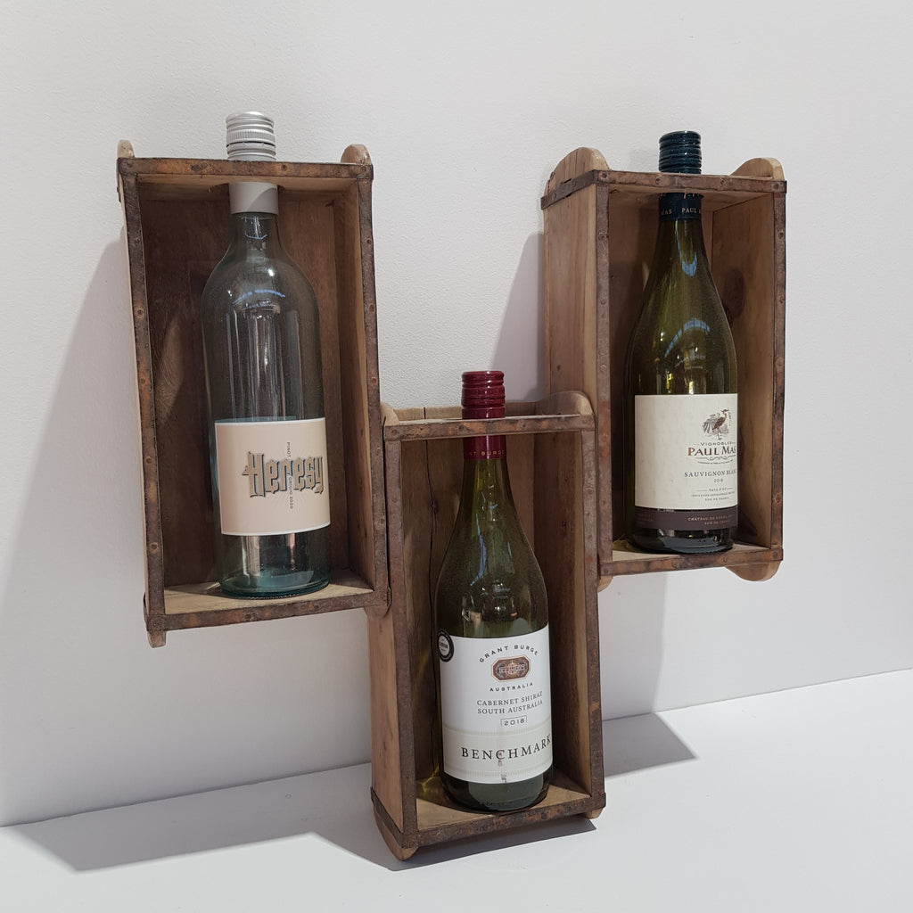 Vintage Brick Mold Wine Rack 3 Bottle Wall Hanging