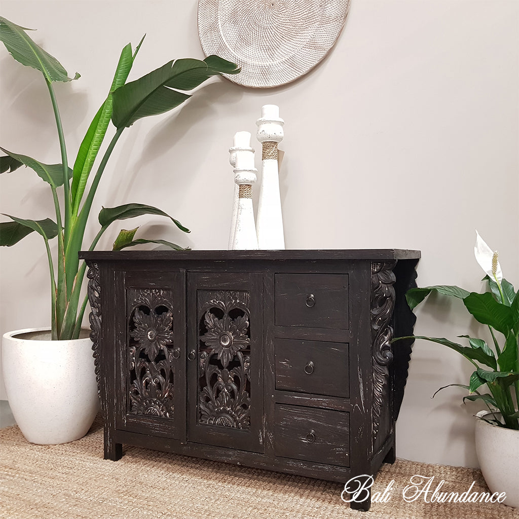 Hand Carved Recycled Teak Wood Blackwash Console with Brass Handles