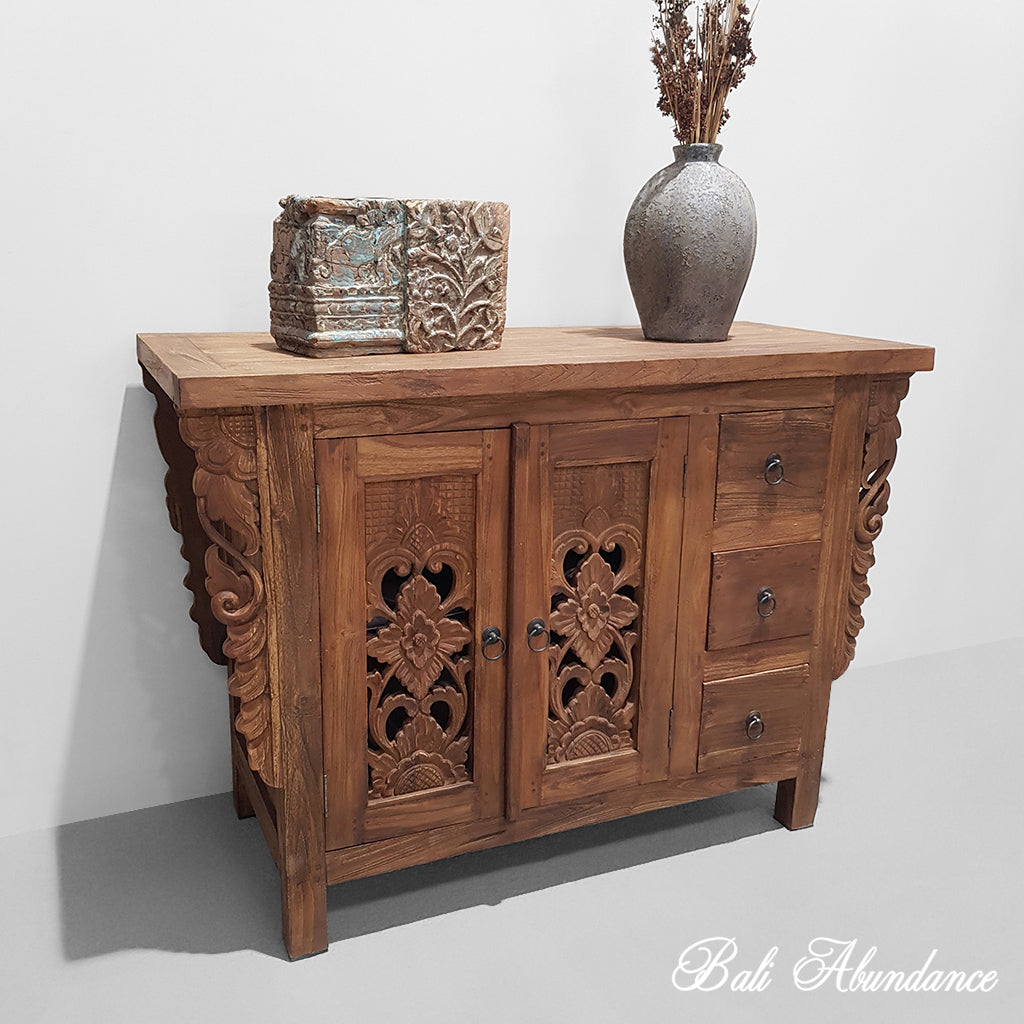 PRE ORDER Balinese Hand Carved Console Dresser - Brown
