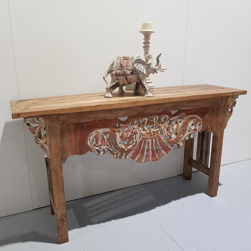 Balinese Hand Carved Console with Coloured Carving