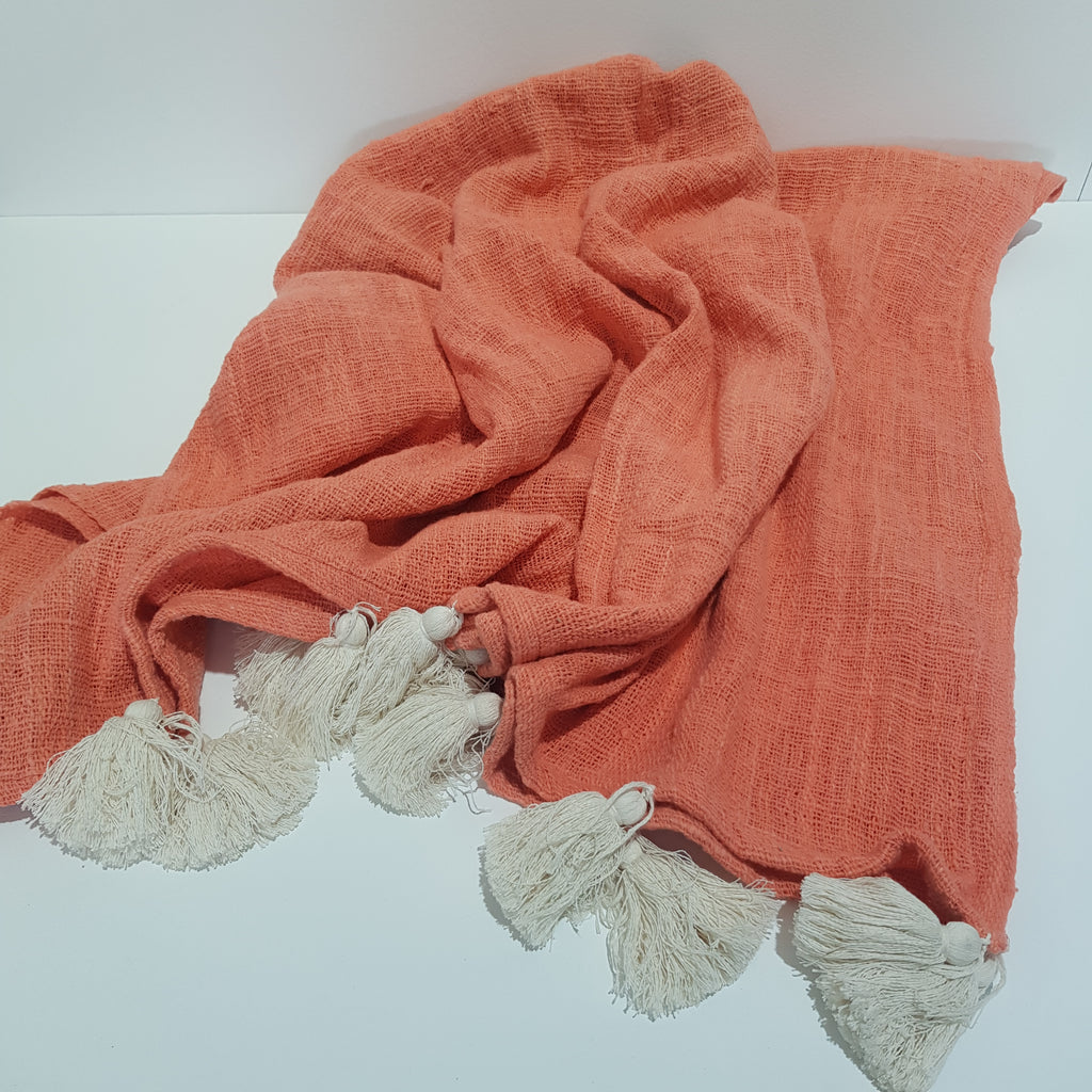Cotton Throw with Tassels - Coral