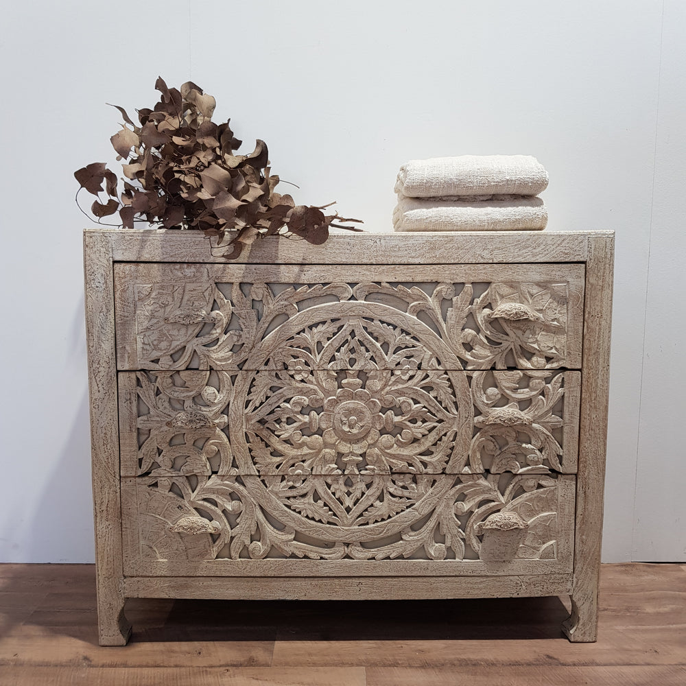 Indian Hand Carved 3 Draw Sideboard - Eco Village Collection 34U