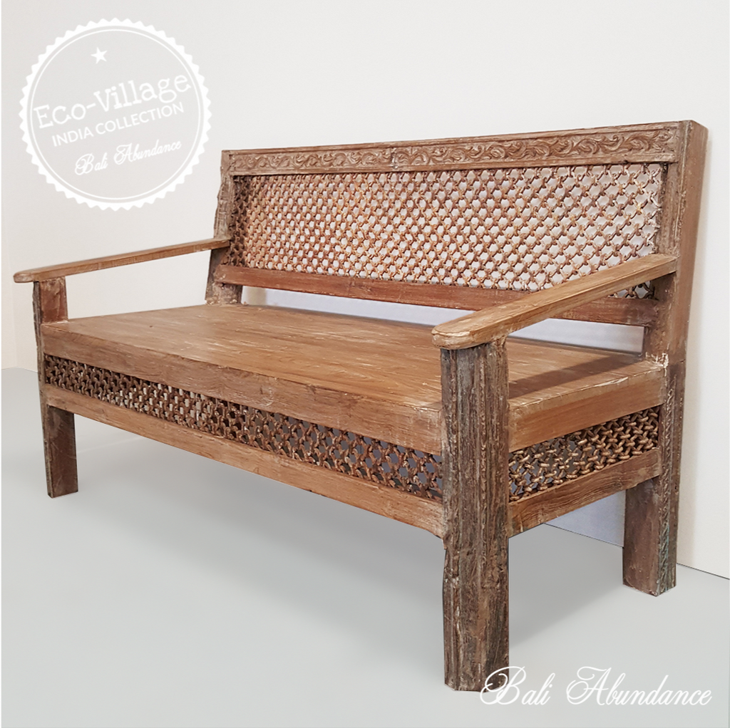 Indian Vintage Jali Metal Bench Seat - Eco Village Collection