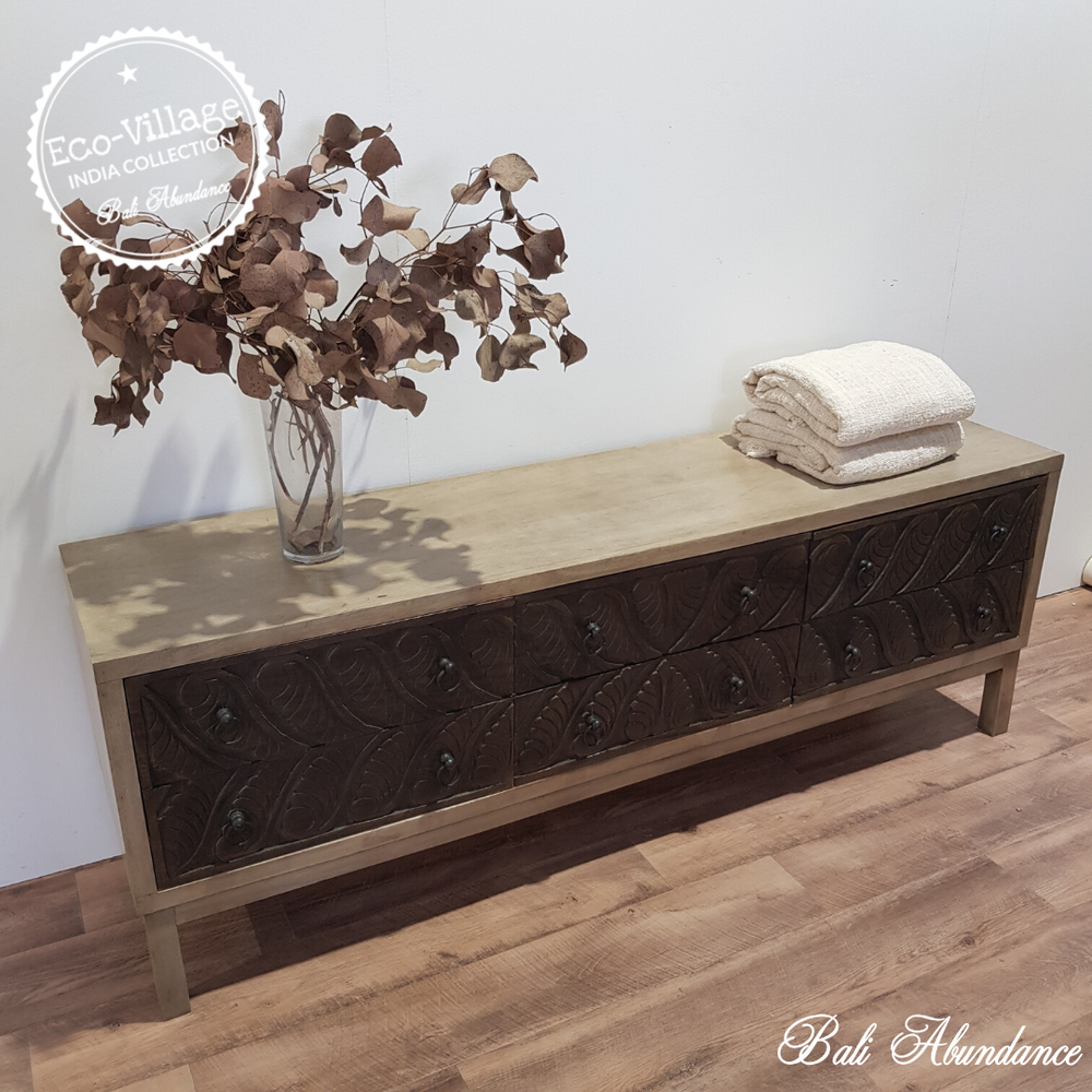 Indian Hand Carved TV Unit - Eco Village Collection 36U