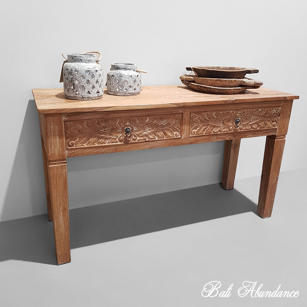 PRE ORDER Balinese Hand Carved Desk Sideboard with 2 Drawers - Whitewash