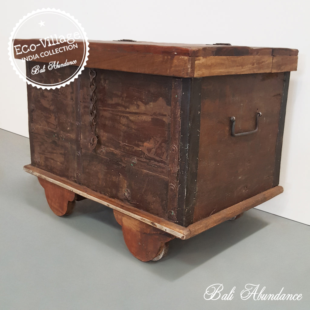 Indian Vintage Wooden Trunk Chest on Wheels - Eco Village Collection