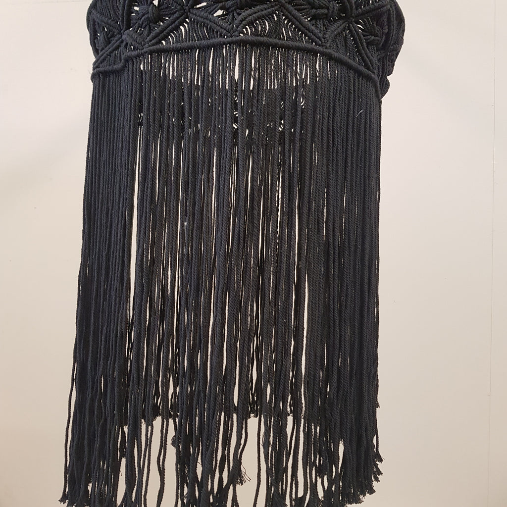 Macrame Hand Made Lightshade Black