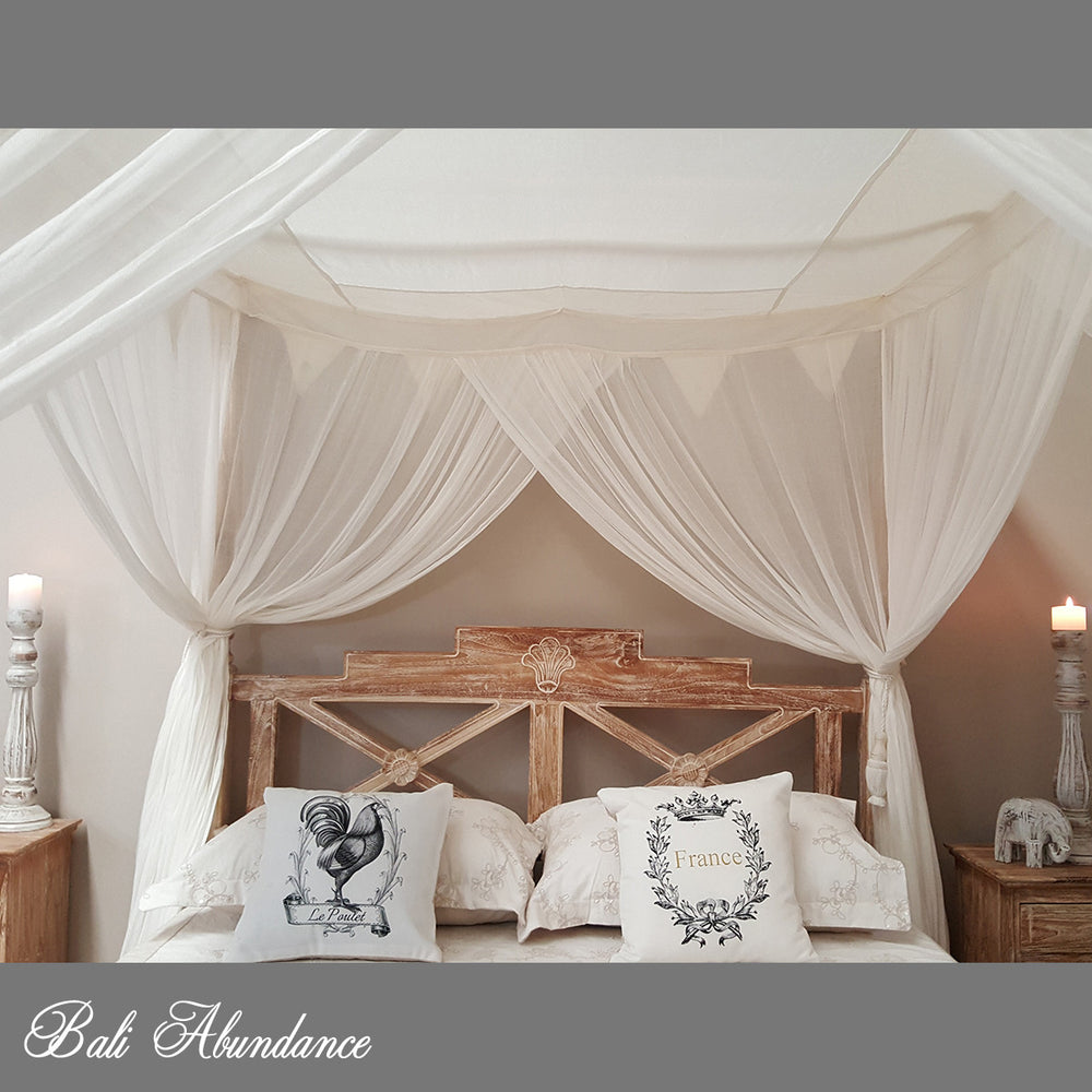 STANDARD Canopy Mosquito Net with Decorative Coconut Buttons in NATURAL