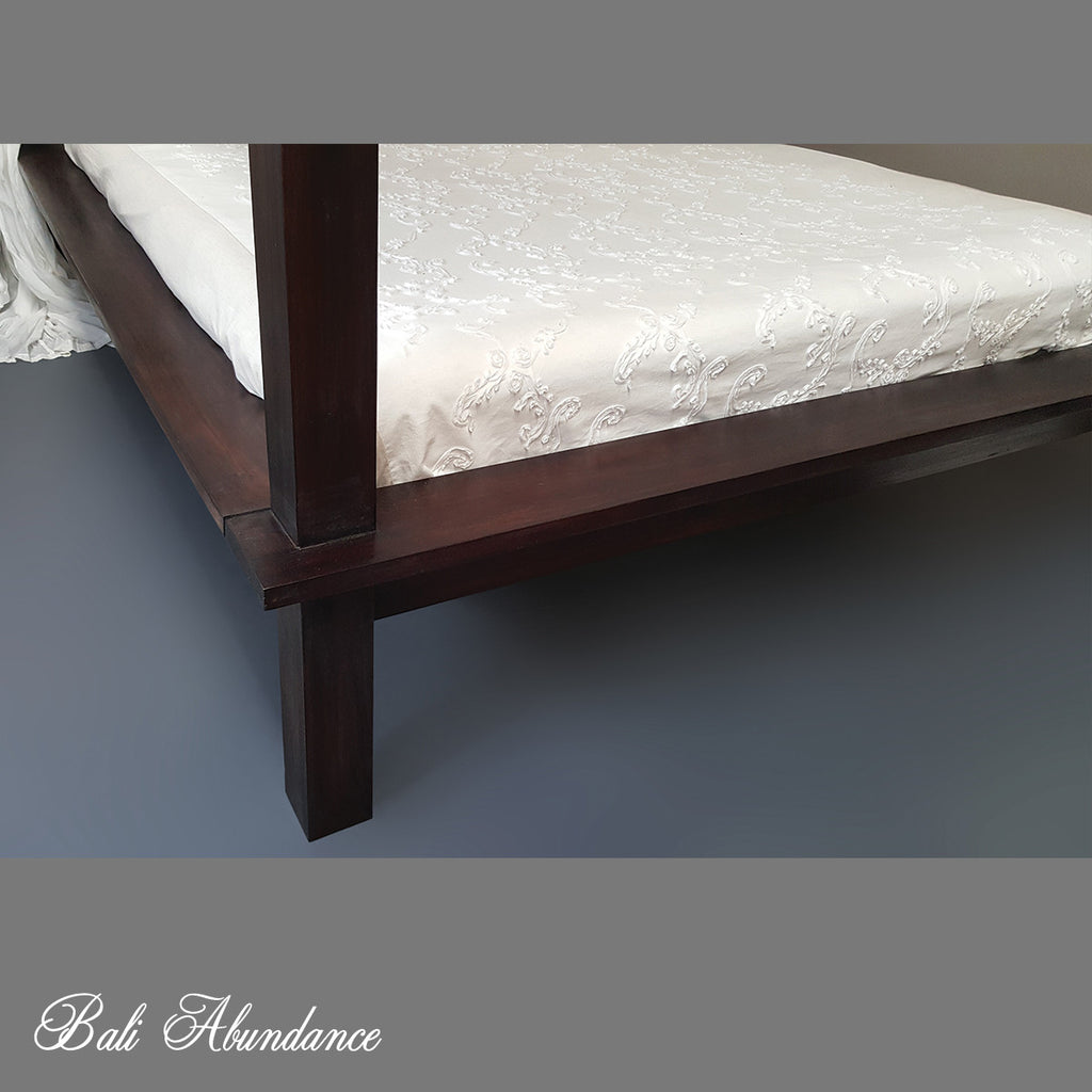 Hand Carved Teak MAXI Four Poster Bed in WALNUT