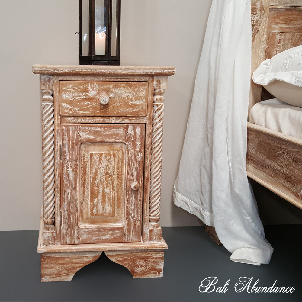 Hand Carved Teak CLASSIC Bedside Table in WHITEWASH