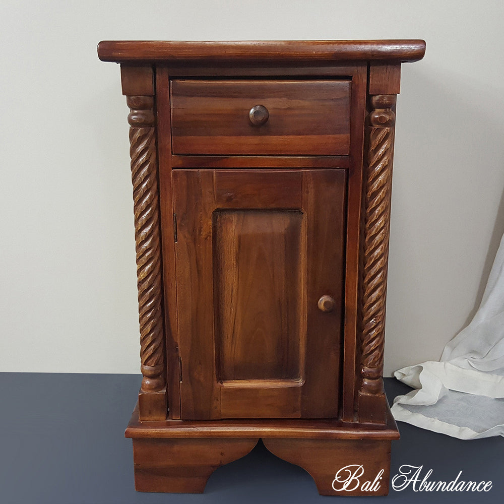 CLASSIC Hand Carved Teak Bedside Table in CHESTNUT
