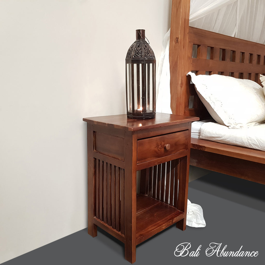 MINIMAL Hand Carved Teak Bedside Table in CHESTNUT