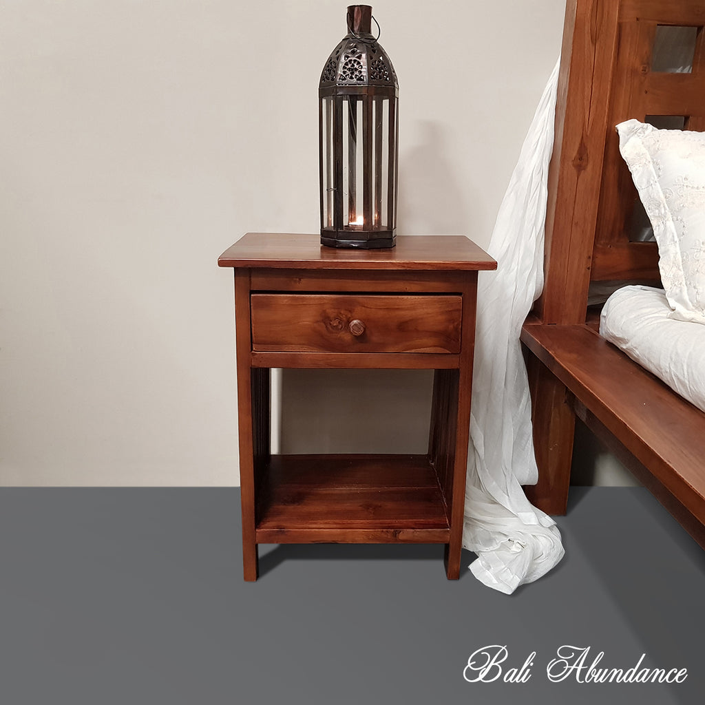 Hand Carved Teak MINIMAL Bedside Table in CHESTNUT
