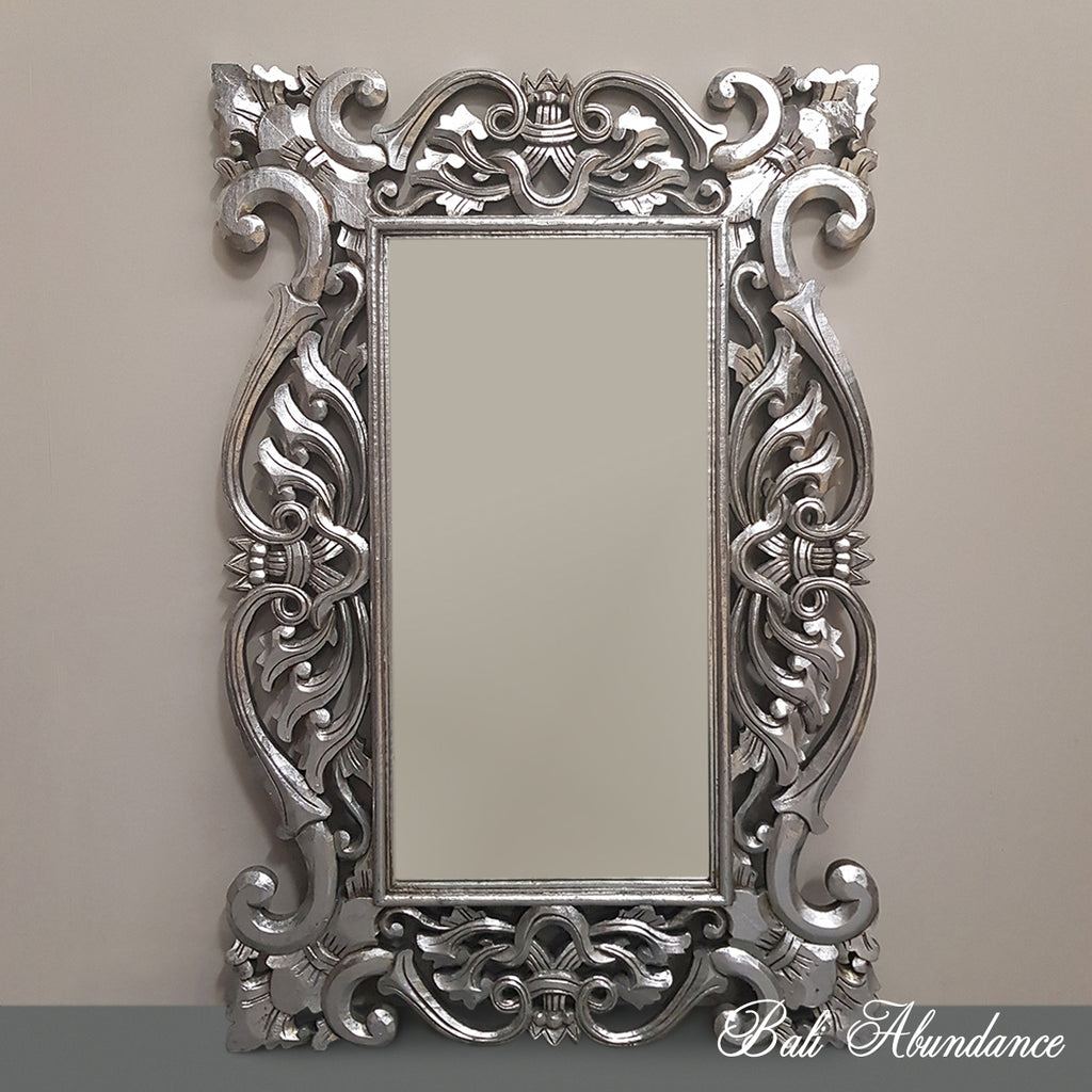 Hand Carved French Provincial Inspired Medium SILVER Mirror 120 x 80