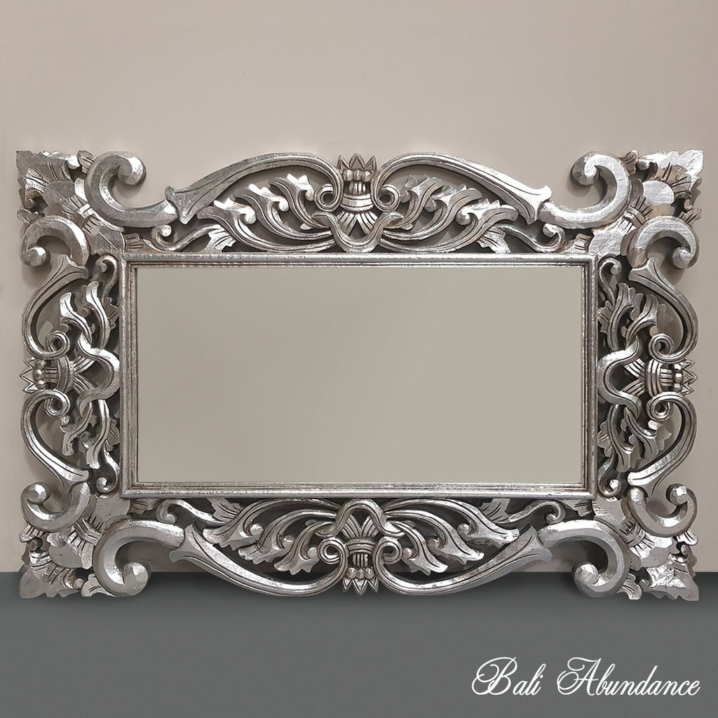 Hand Carved French Provincial Inspired SILVER Mirror 120 x 80
