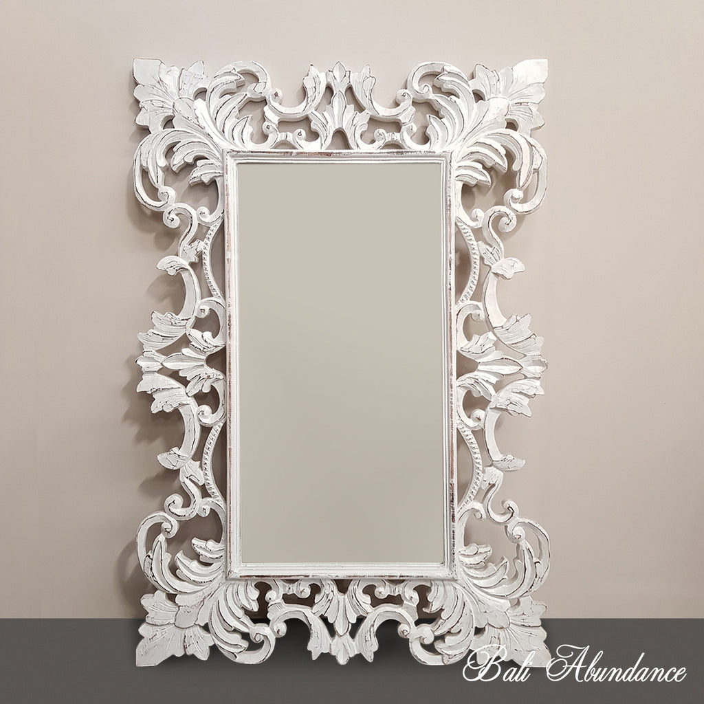 Hand Carved French Provincial Inspired Medium WHITEWASH Mirror 120 x 80
