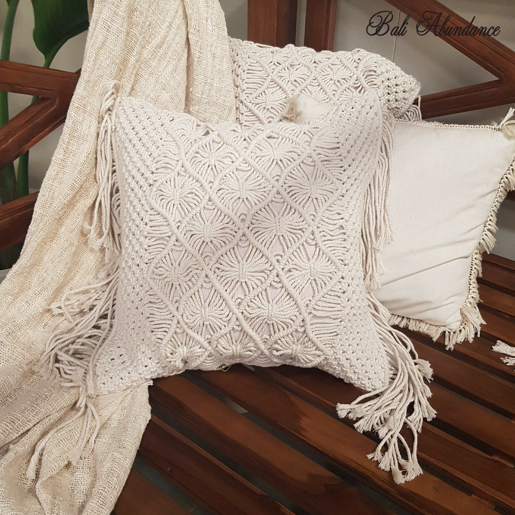 Hand Made Large Macrame Cushion Cover 50cm