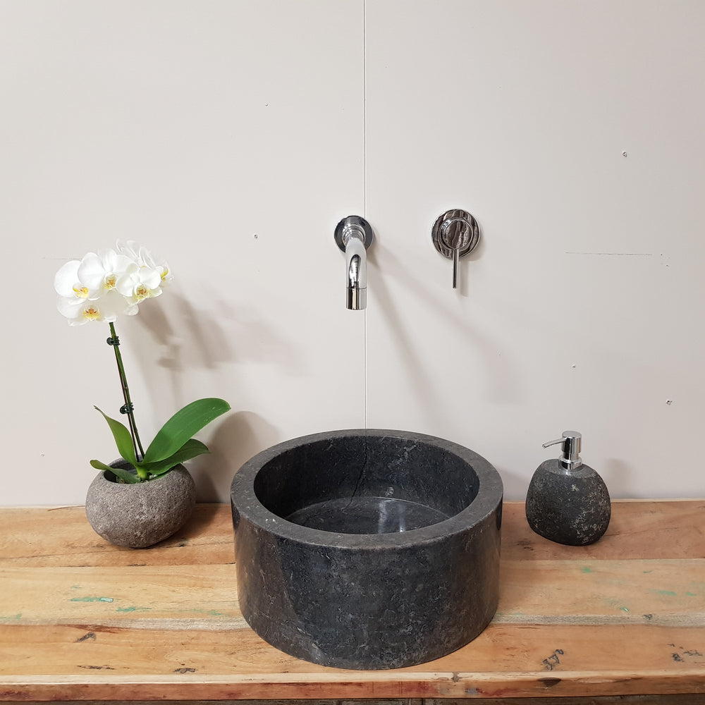 Natural Black Marble Stone Bathroom Basin No. 44E