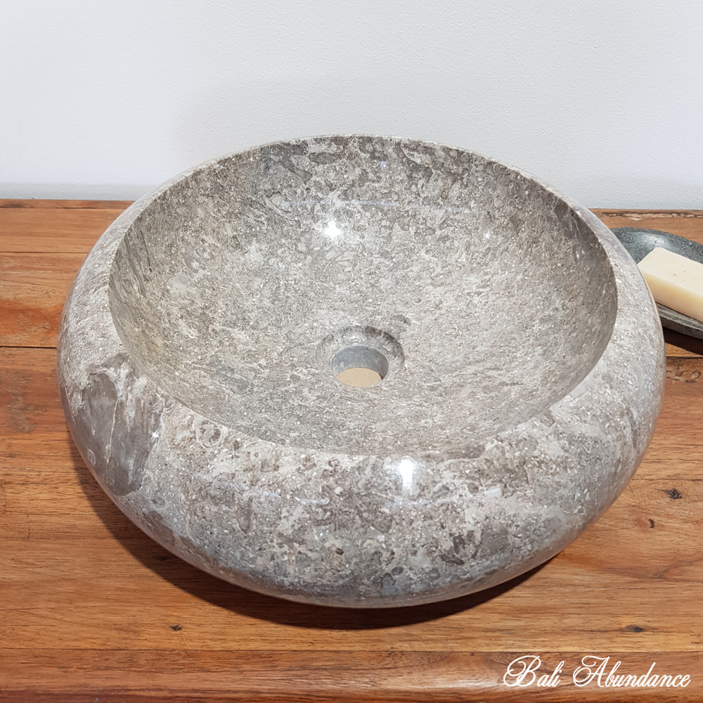 Natural Marble Stone Smooth Basin - Warm Grey 45Q
