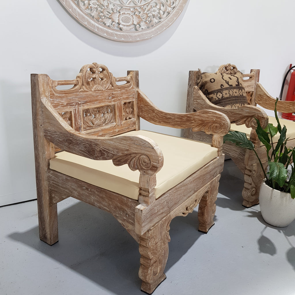 Balinese Hand Carved Whitewash Teak King Arm Chair With Cushion