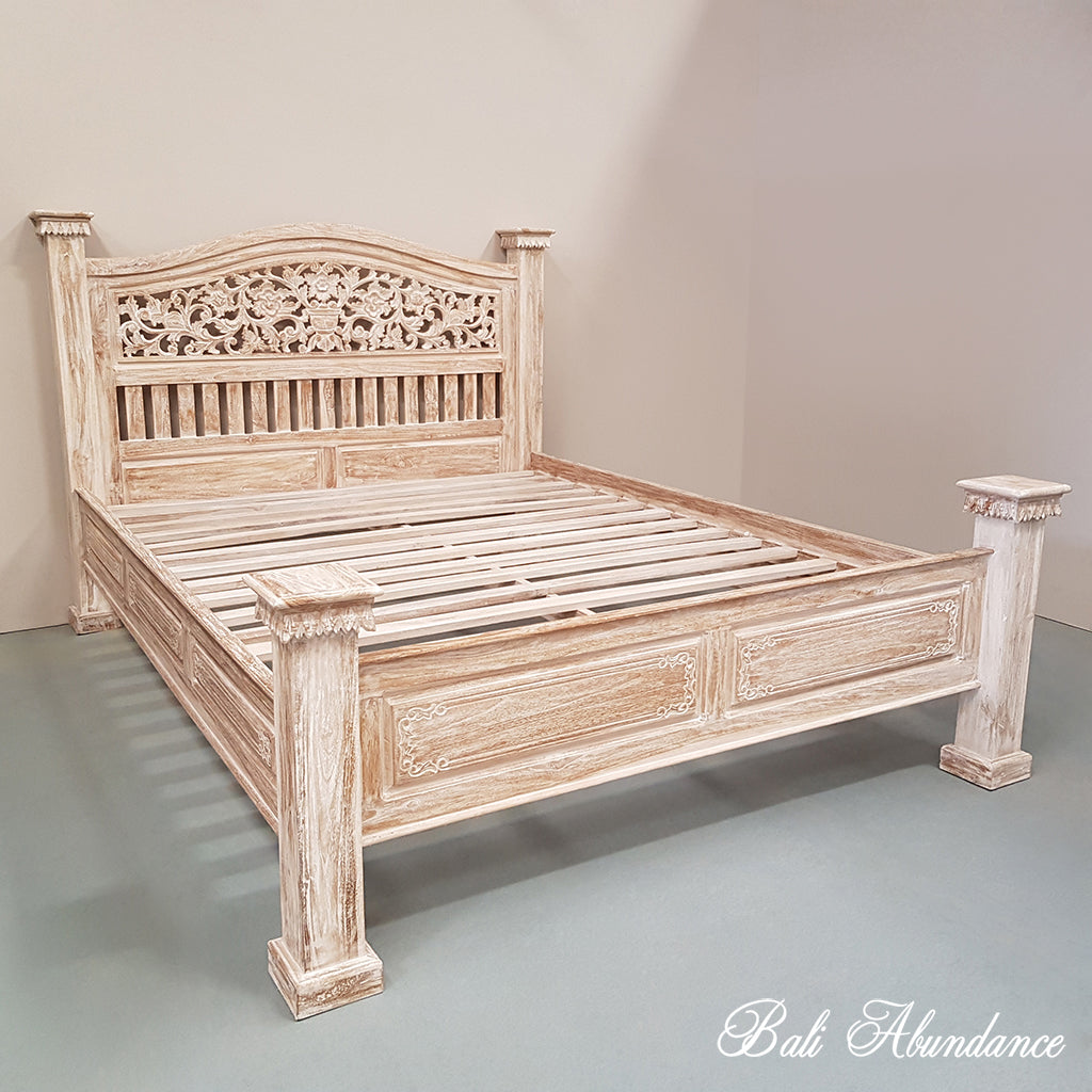 Hand Carved Bed: Hand Carved Teak Wood Bed The LOVINA In WHITEWASH