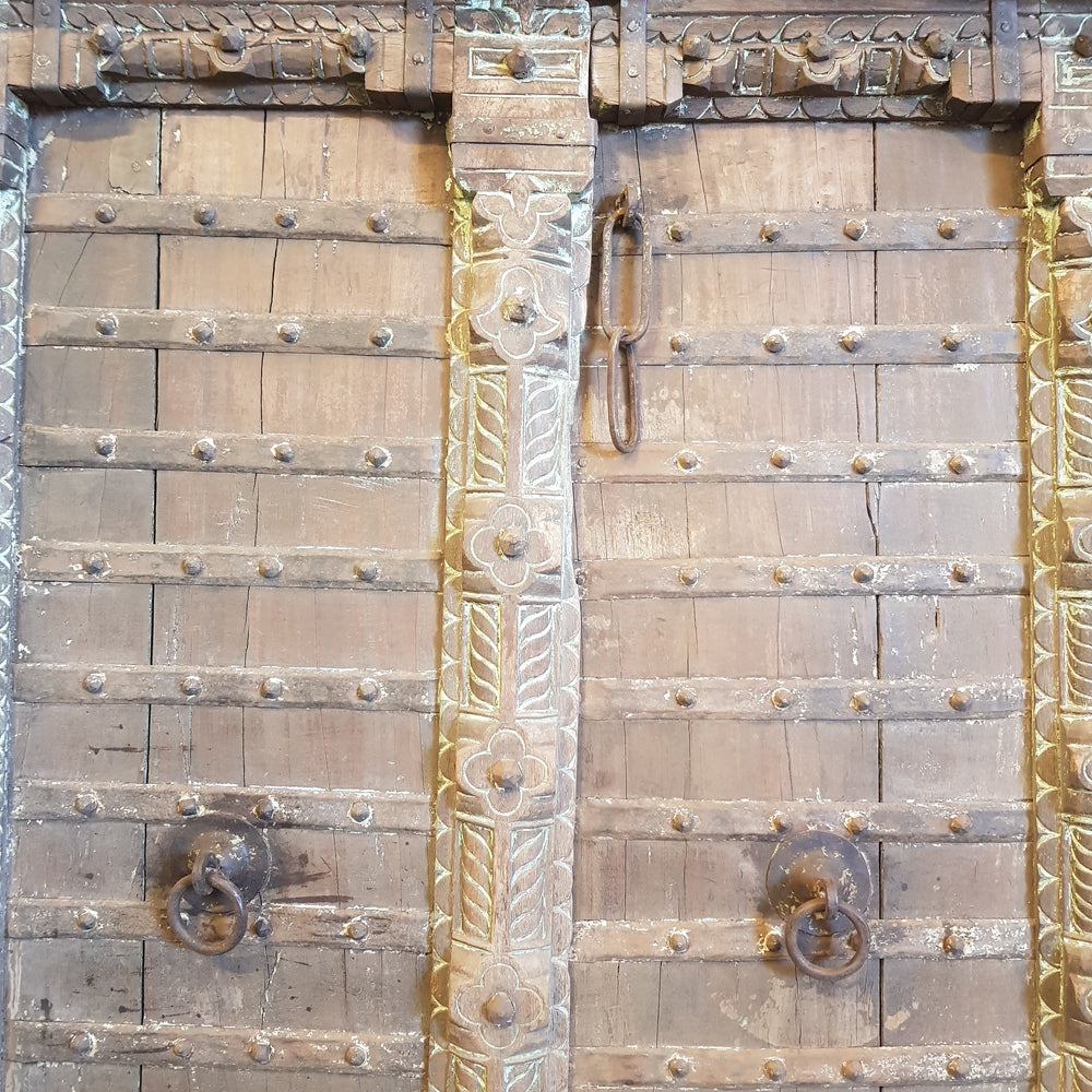 Indian Metal Stud Hand Carved Timber Door - Eco Village Collection