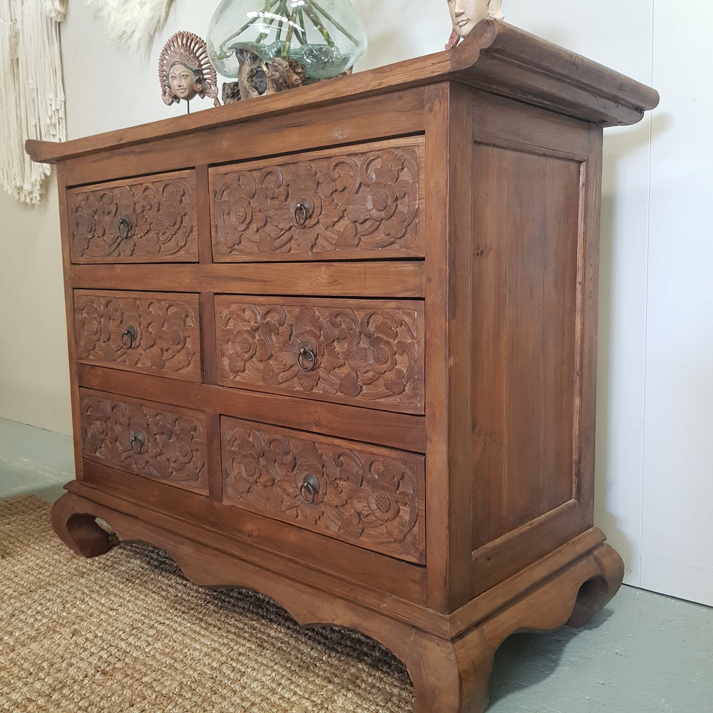 Hand Carved Recycled Teak OPIUM 6 Drawer Tallboy