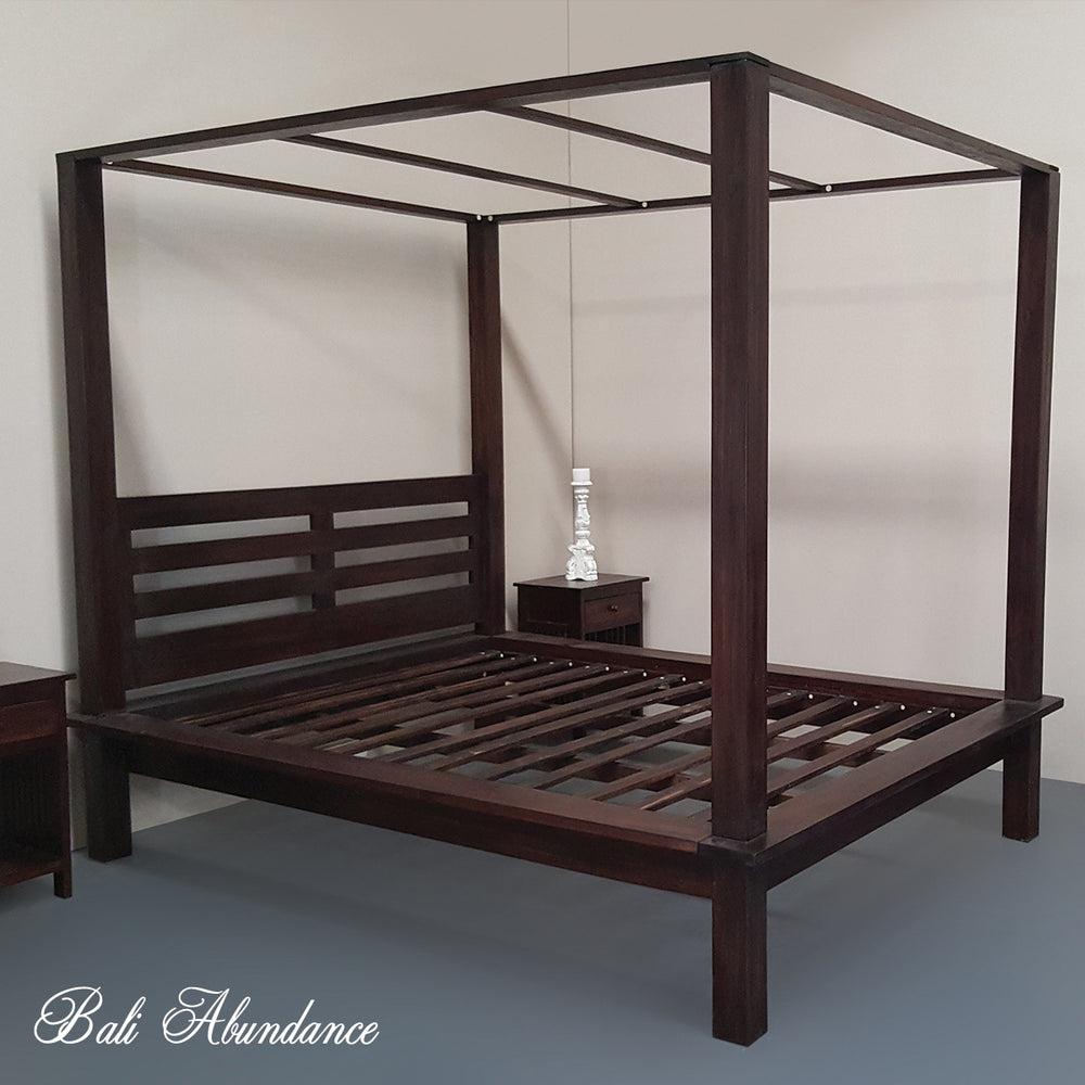 4 four poster bed bali handcarved walnut maxi