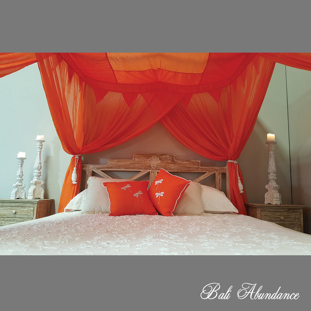 STANDARD Canopy Mosquito Net with Decorative Coconut Buttons in ORANGE