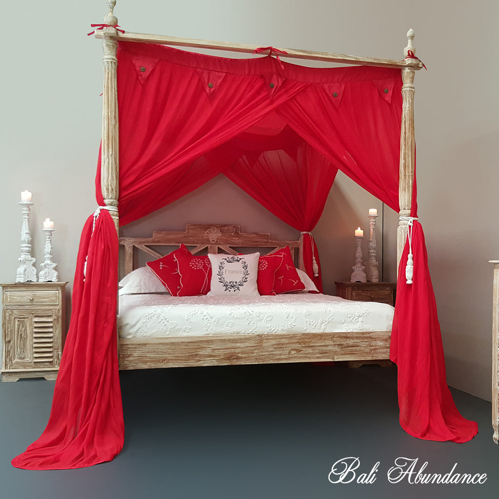 STANDARD Canopy Mosquito Net with Decorative Coconut Buttons in RED