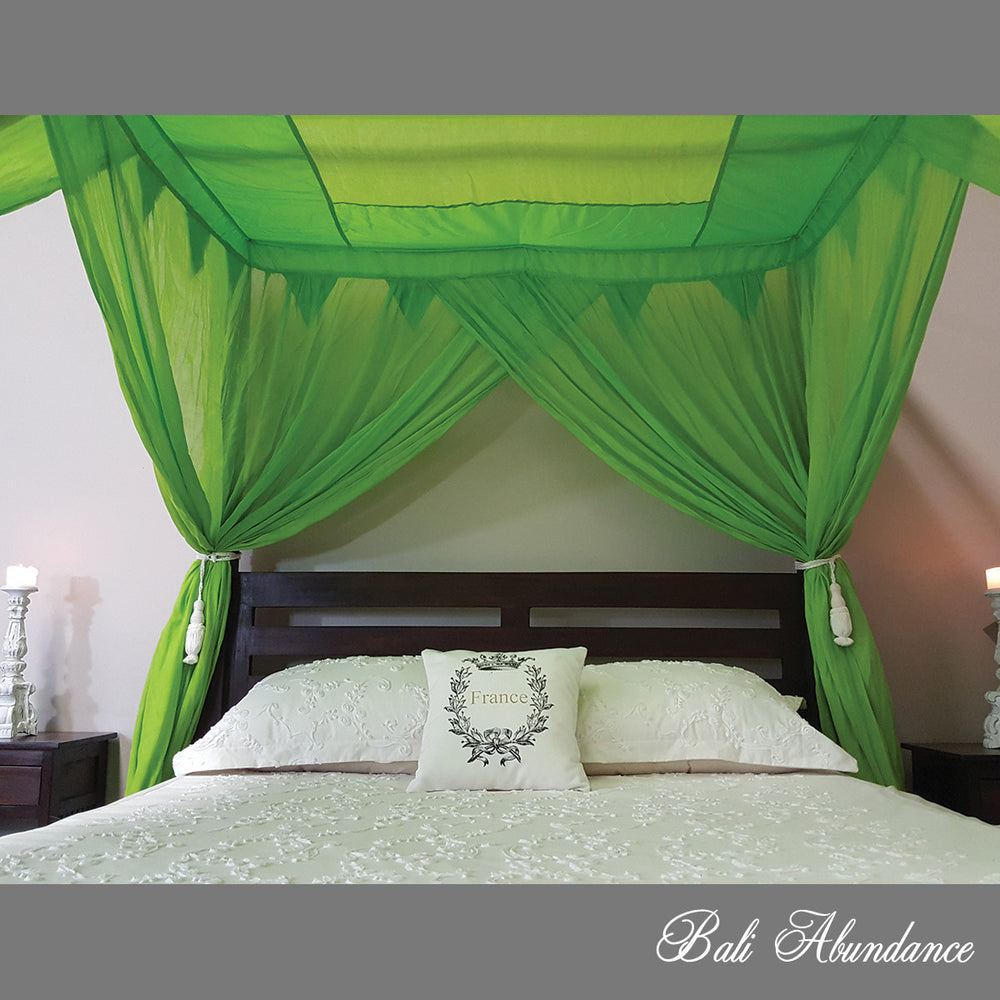 STANDARD Canopy Mosquito Net with Decorative Coconut Buttons in LIME GREEN