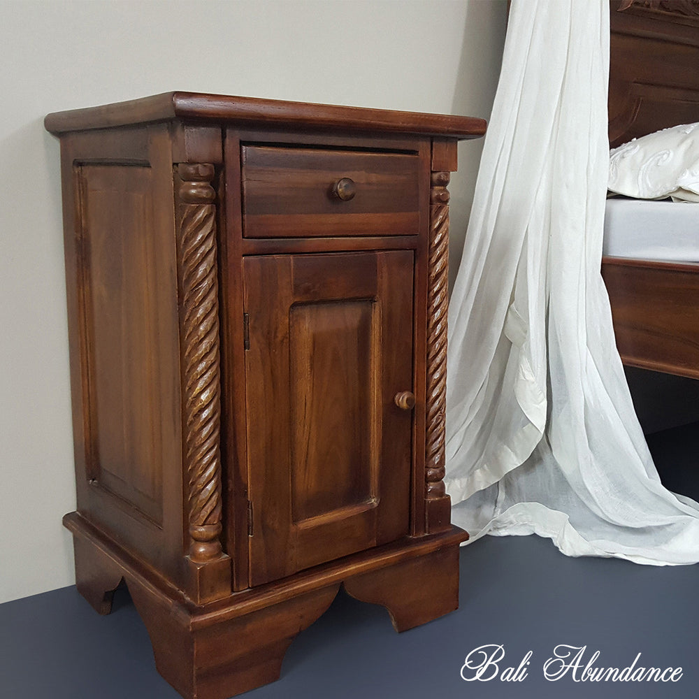 Hand Carved Teak CLASSIC Bedside Table in CHESTNUT