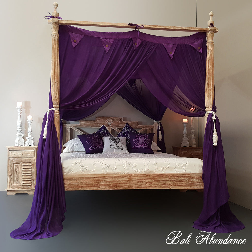 STANDARD Canopy Mosquito Net with Decorative Coconut Buttons in PURPLE