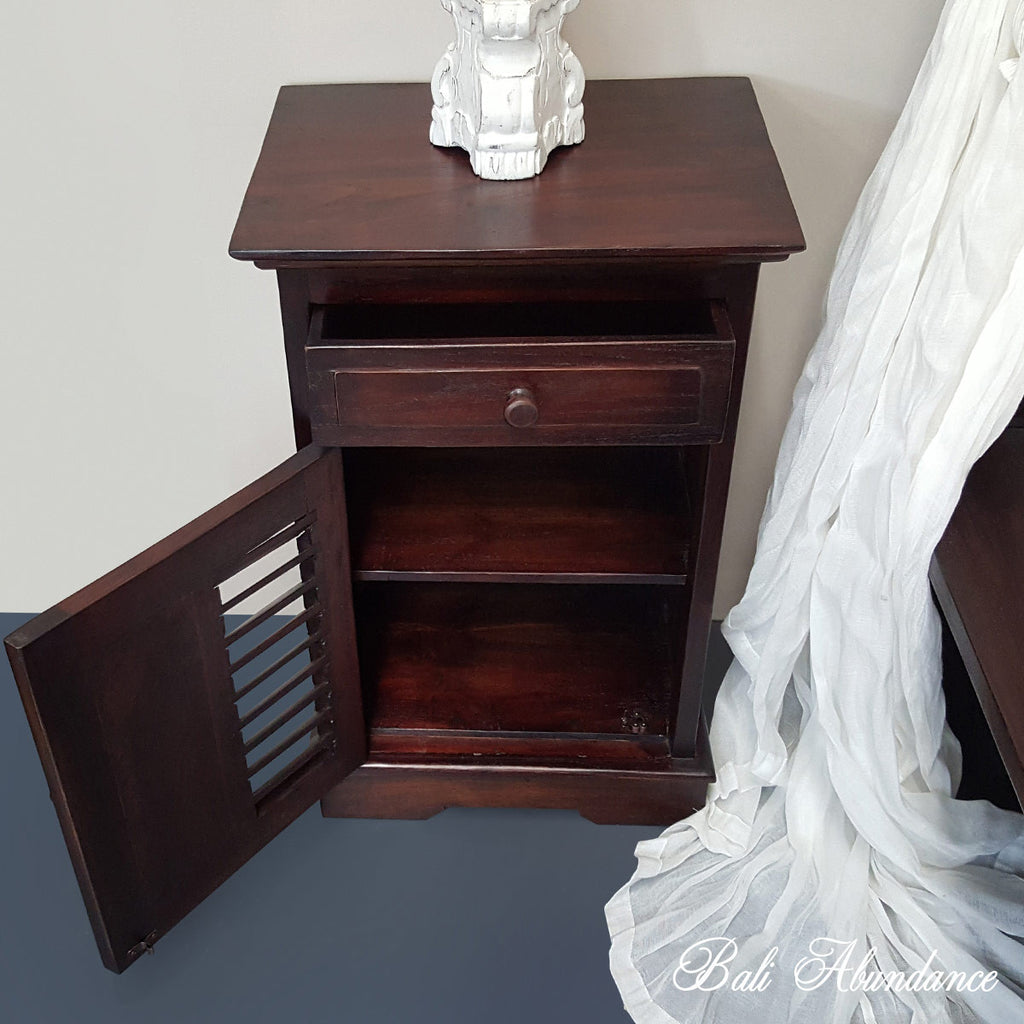 Hand Carved Teak LOUVRE Bedside Table in WALNUT