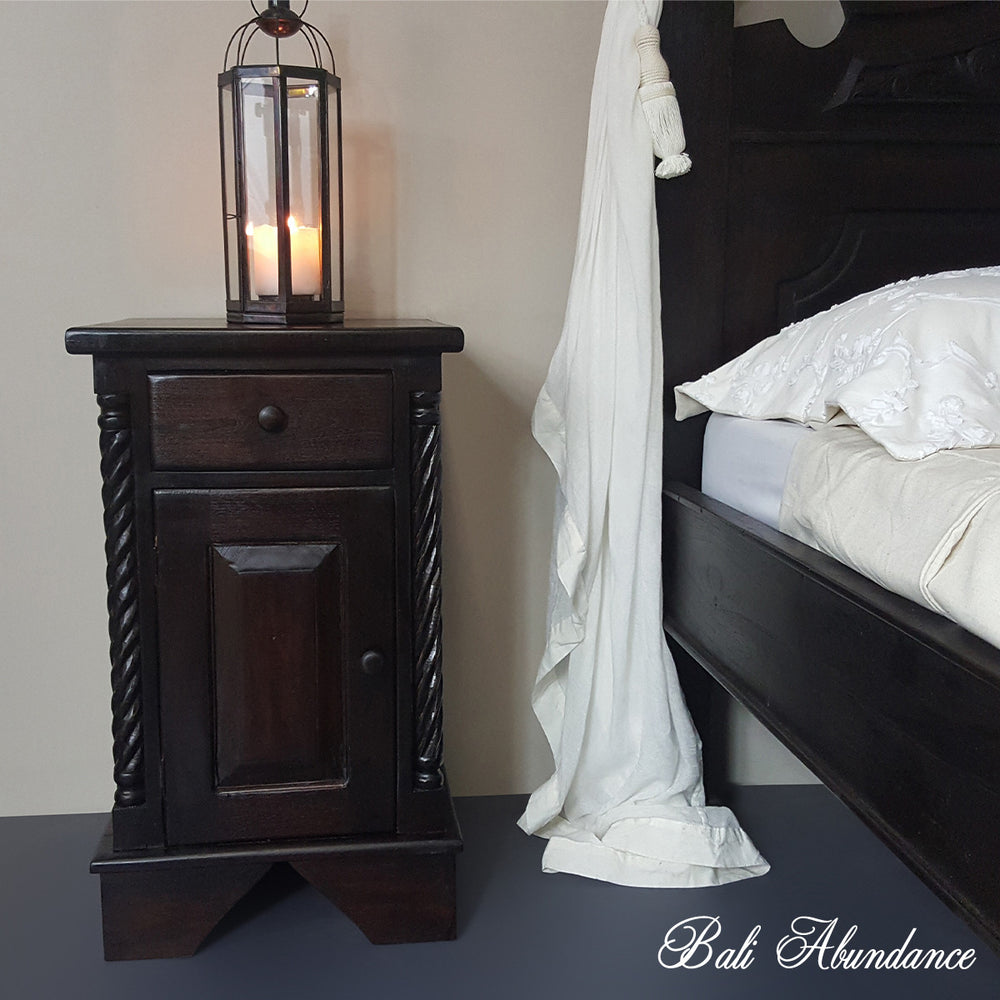 CLASSIC Hand Carved Teak Bedside Table in WALNUT