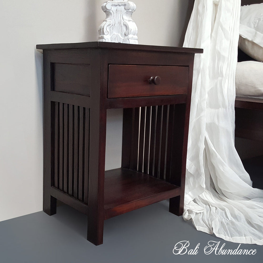 Hand Carved Teak MINIMAL Bedside Table in WALNUT