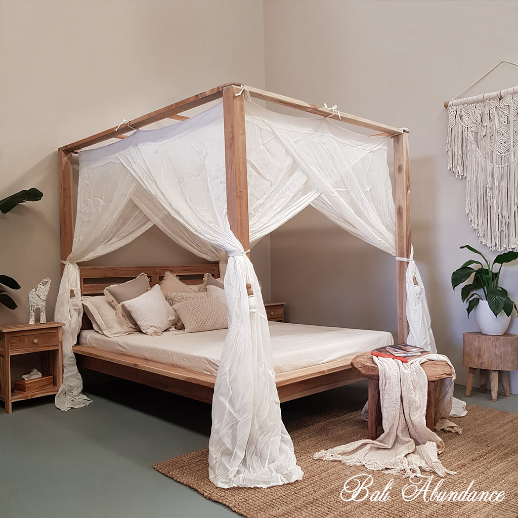 4 four poster bed frame bali whitewash maxi
