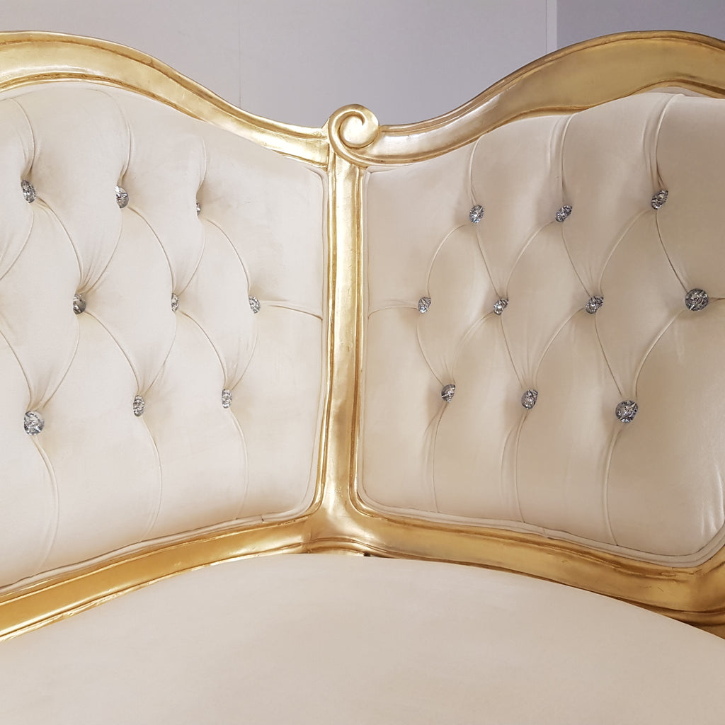 French Provincial Cream Velvet Chase Lounge with Gold Leaf