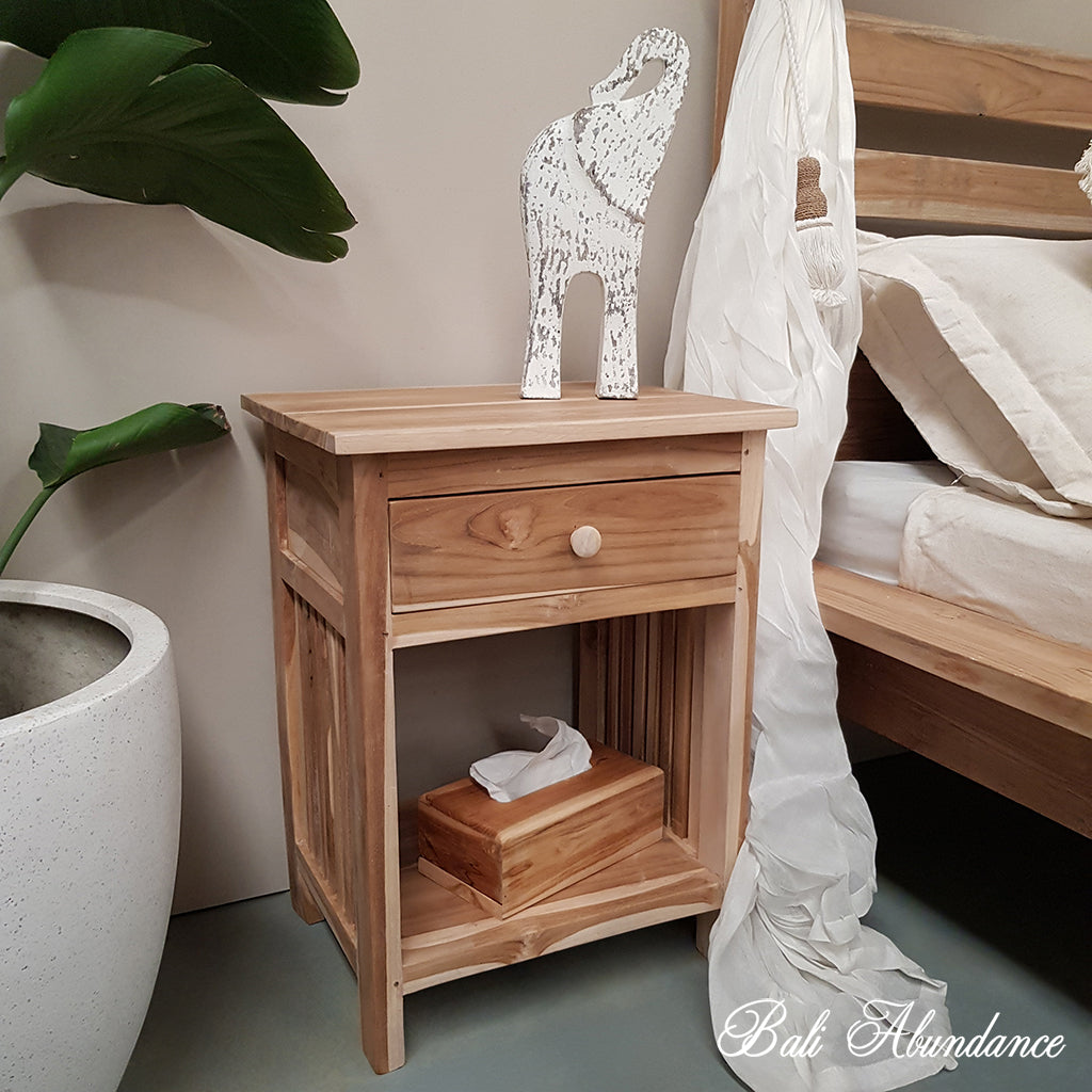 MINIMAL Hand Carved Teak Bedside Table in RAW