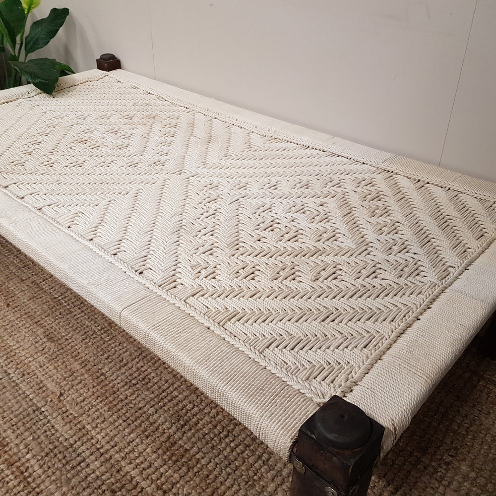 Indian Charpai Woven Rope Daybed with Hand Carved Legs - Eco Village Collection