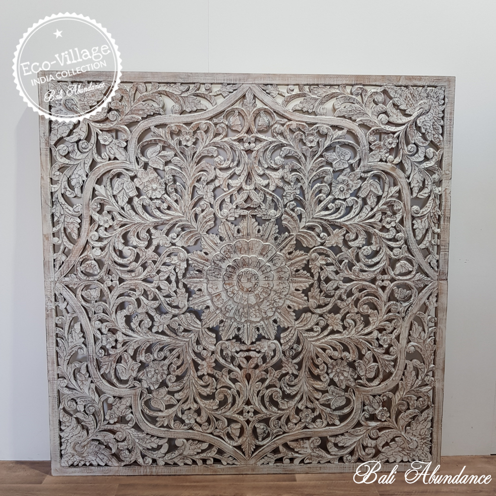 Indian Hand Carved Wooden Panel 160 x 160 - Eco Village Collection 52U