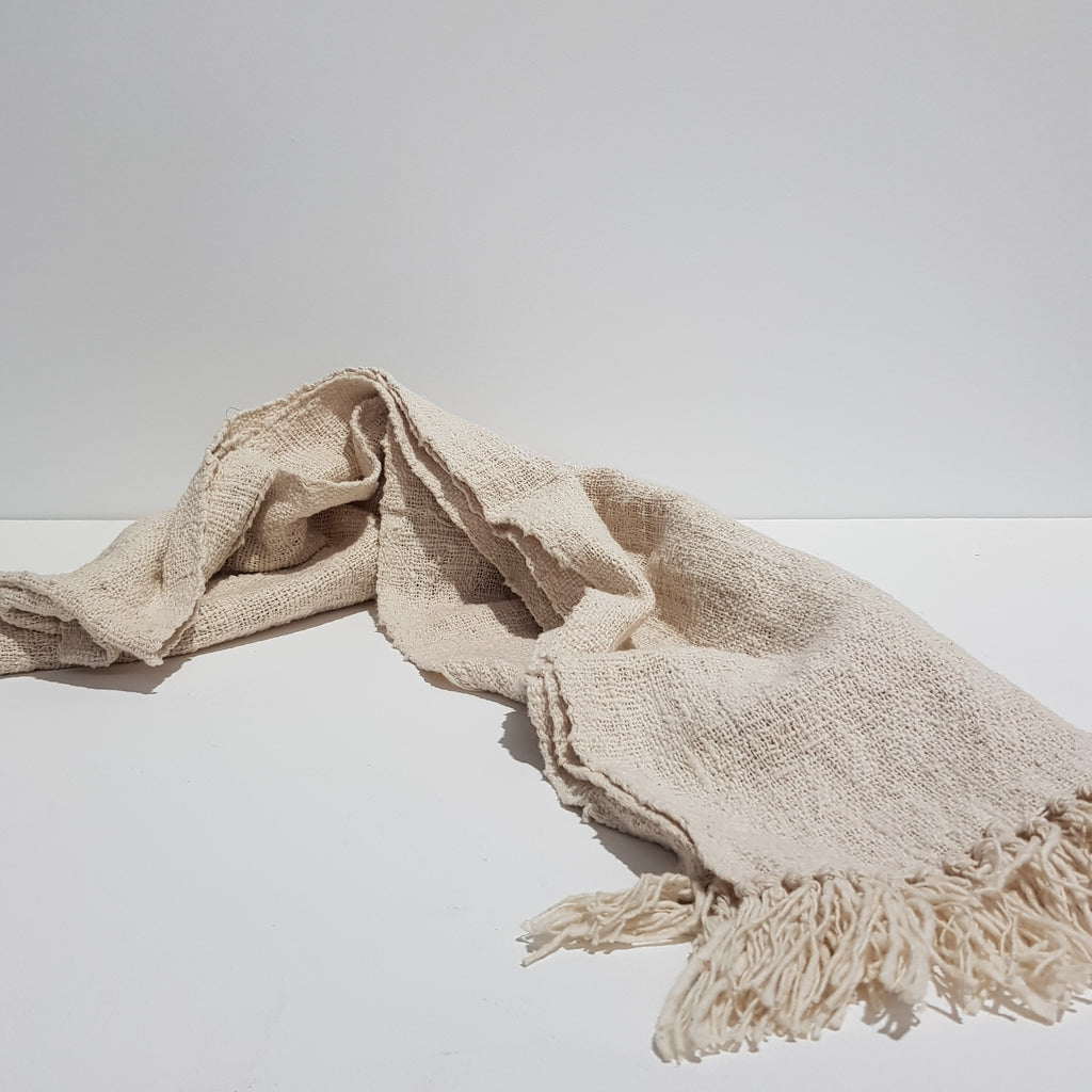 Cotton Throw Runner with Tassels - Cream