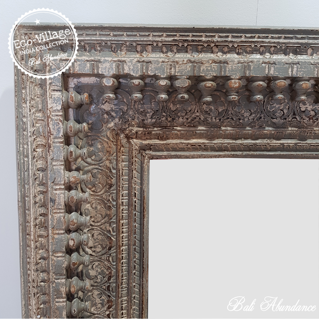 Indian Hand Carved Mirror - Eco Village Collection 53U