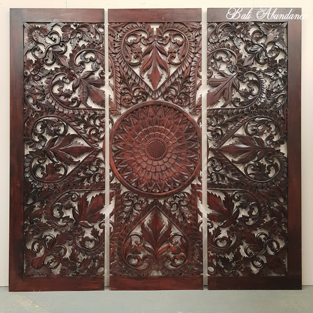 Hand Carved WALNUT 3 Piece Panel 180 X 180
