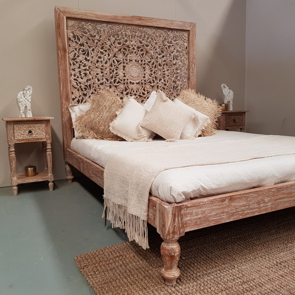 Hand Carved Teak Wood Panel Bed INDAH in WHITEWASH