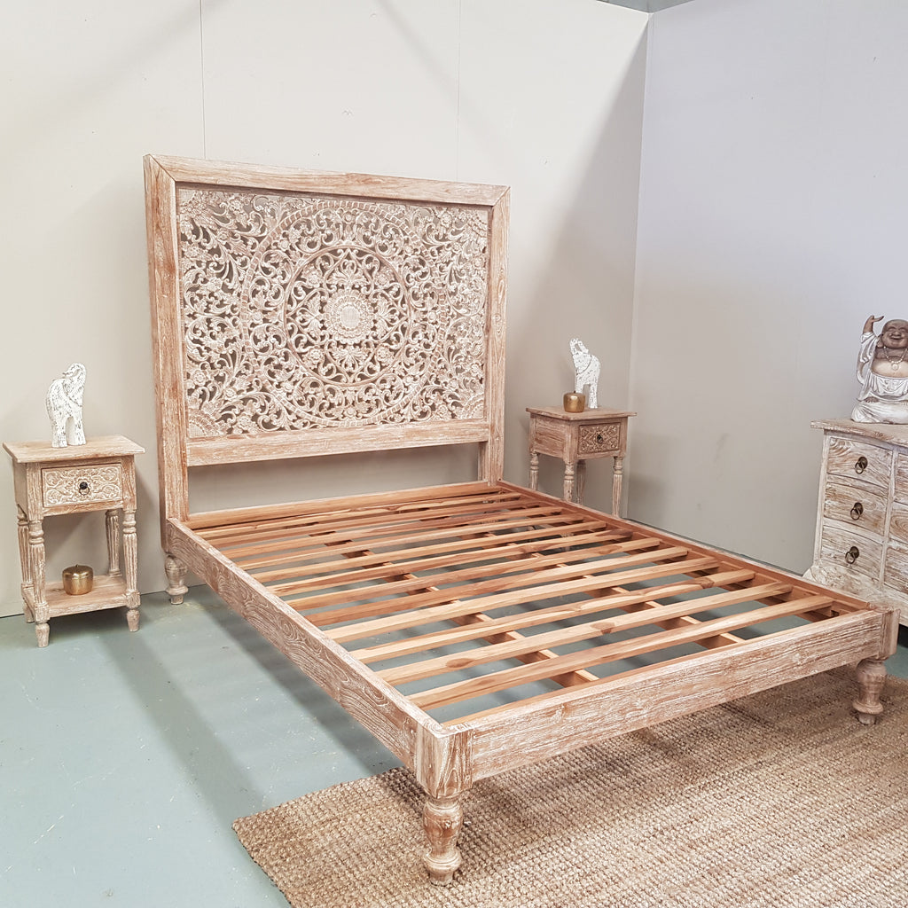 Hand Carved Bed: Hand Carved Teak Wood Panel Bed INDAH In WHITEWASH
