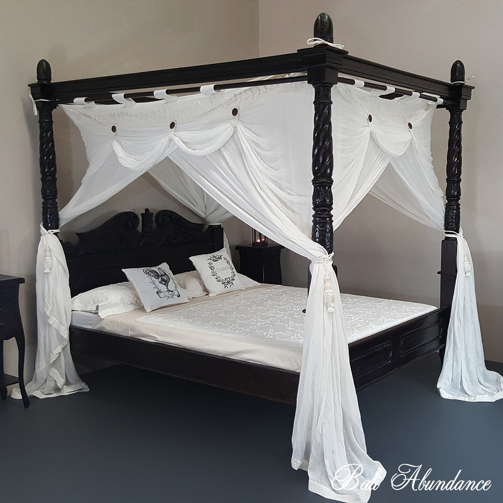 Hand Carved Bed: Four Poster Bed CLASSIC- Hand Carved Teak In WALNUT