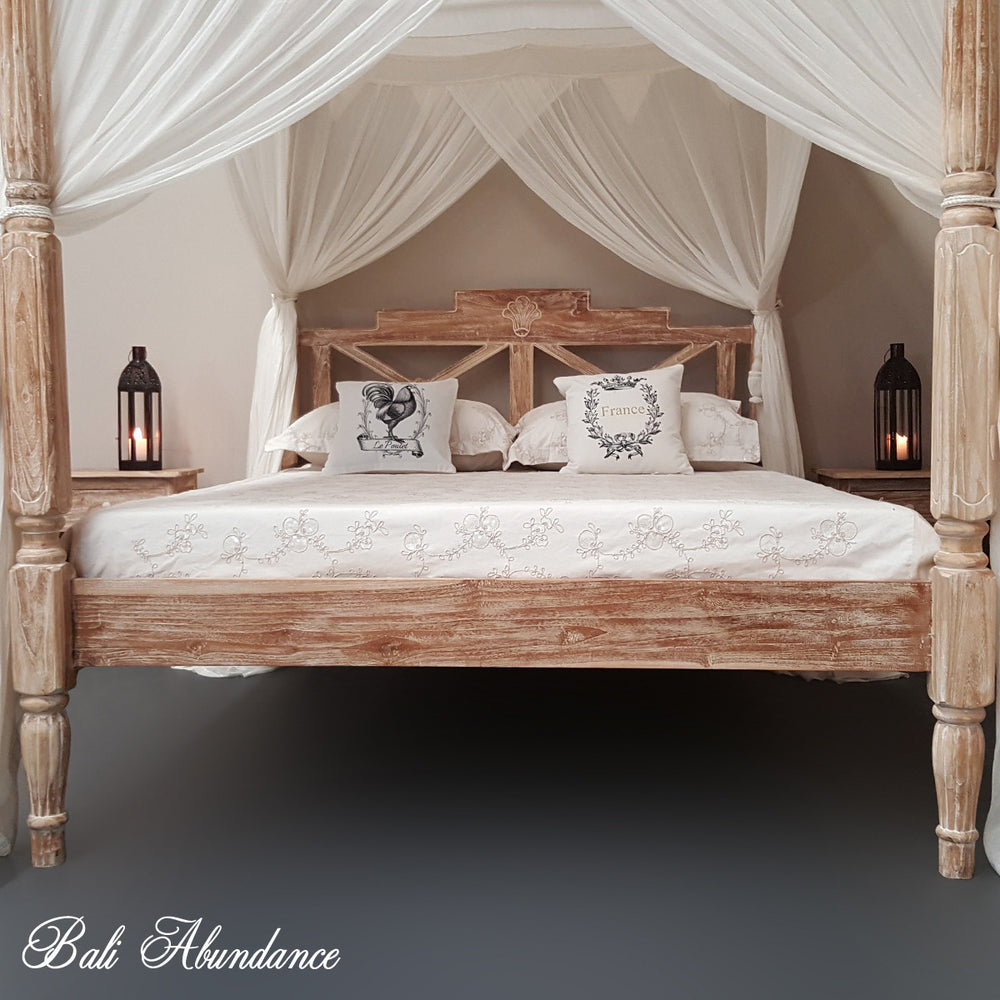 4 four poster bed bali handcarved whitewash seaside