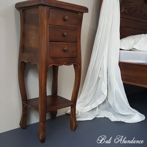 Hand Carved Teak BOMBAY Bedside Table in CHESTNUT