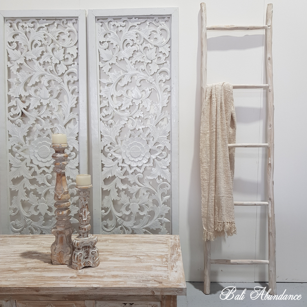 Hand Made Abstract Teak Wood Display Ladder - Whitewash